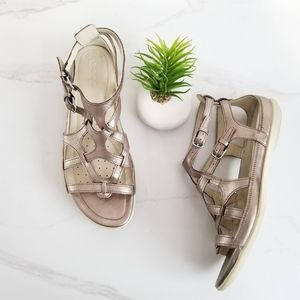 Ecco Flash Gladiator Sandals Metallic Silver Flats
